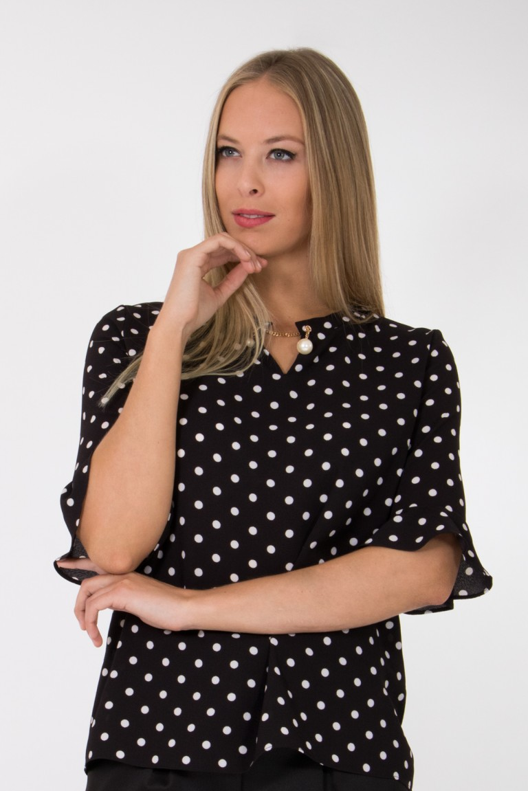 3/4 SLEEVES BLOUSE WITH ALL-OVER DOTS PRINT