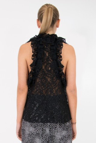 SLEEVELESS LACE BLOUSE WITH RUFFLE DETAILS