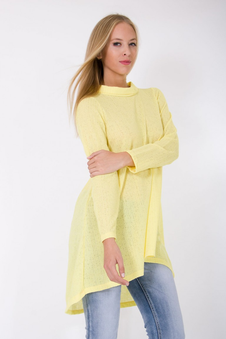 LONG SLEEVES JERSEY TUNIC WITH HIGH COLLAR