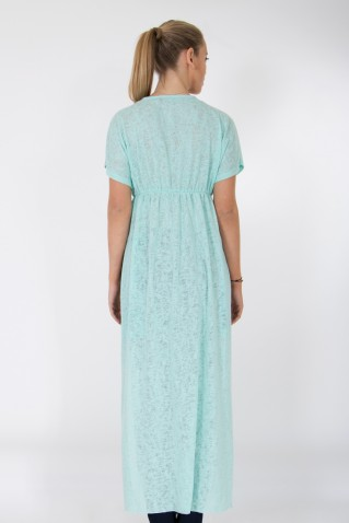 LIGHT KNIT MAXI TUNIC WITH SIDE SLITS AND FRONT PRINT