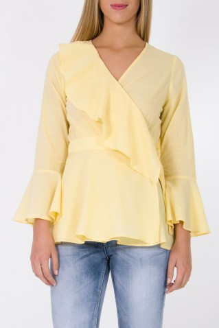 CACHE-COEUR BLOUSE WITH FRONT AND SLEEVES RUFFLE
