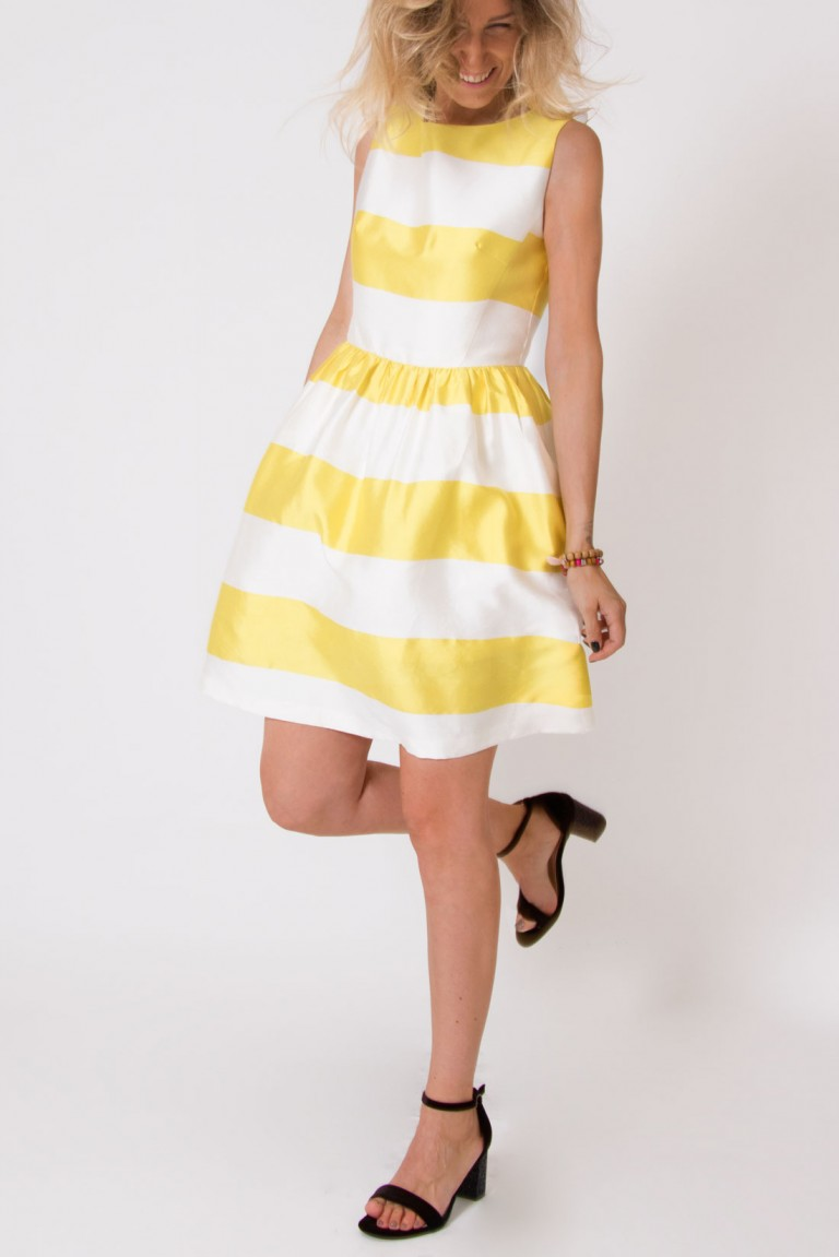 STRIPED SHORT SLEEVELESS DRESS
