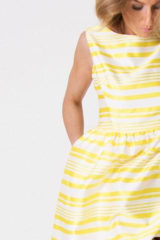 STRIPED SHORT DRESS ROUNDED SKIRT