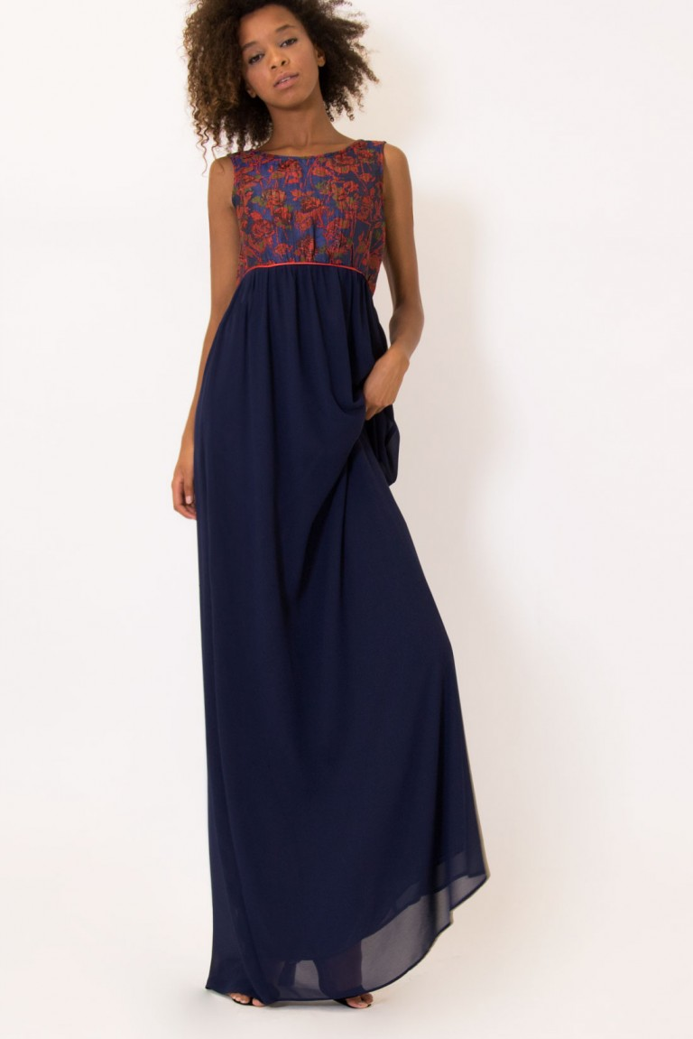 MAXI DRESS WITH JACQUARD DETAIL