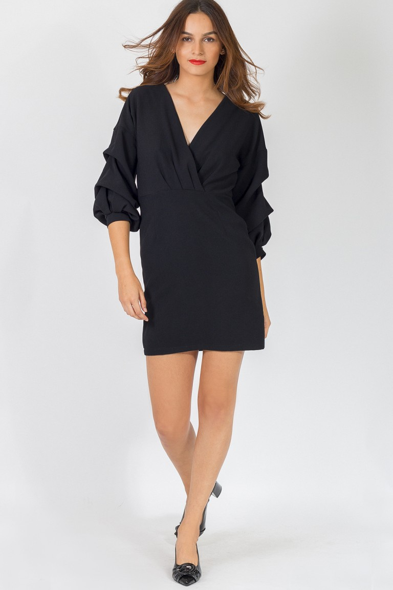 GATHERED SLEEVE DRESS