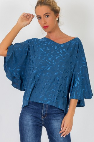 BUTTERFLY SLEEVE JACQUARD BLOUSE
