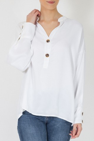 2 BUTTONS SATIN TUNIC