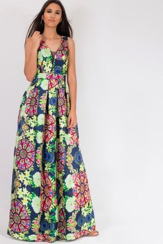 COLORFULL PRINT MAXI DRESS