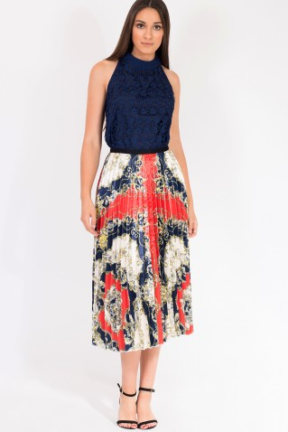 PEATED PRINT SATIN SKIRT