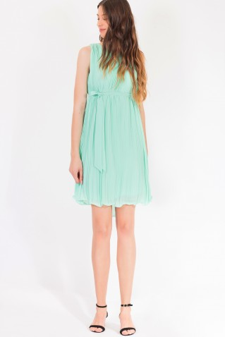 PLEATED SHORT DRESS WITH BELT
