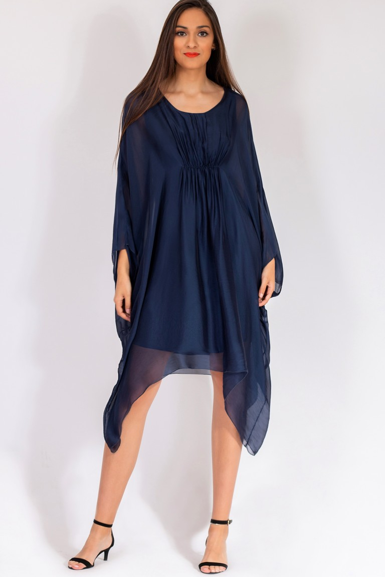SILK VISCOSE TUNIC DRESS